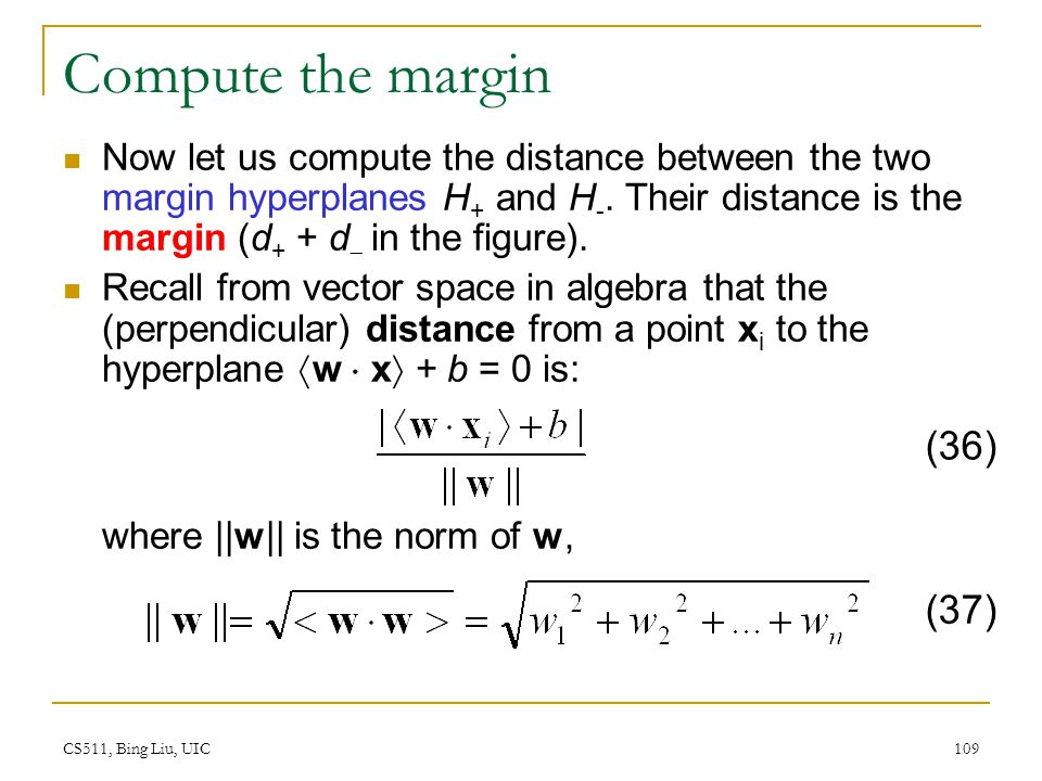 Compute the margin (36) (37)