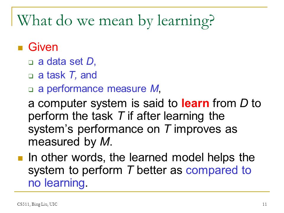 What do we mean by learning