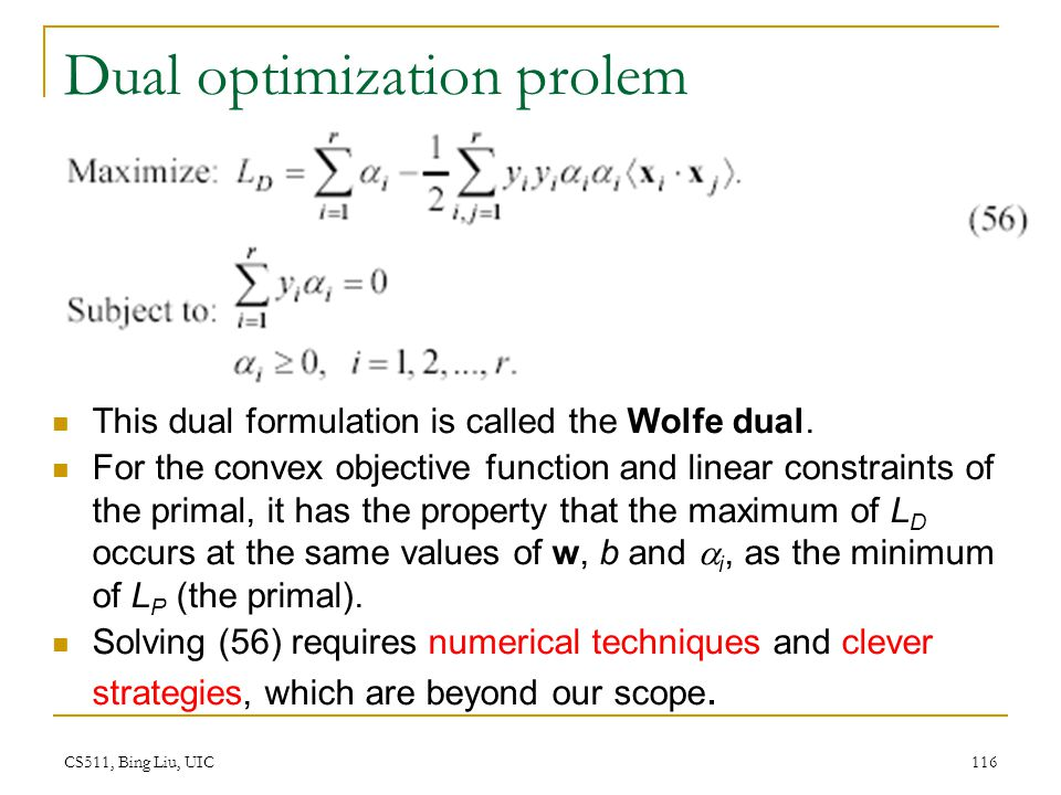 Dual optimization prolem