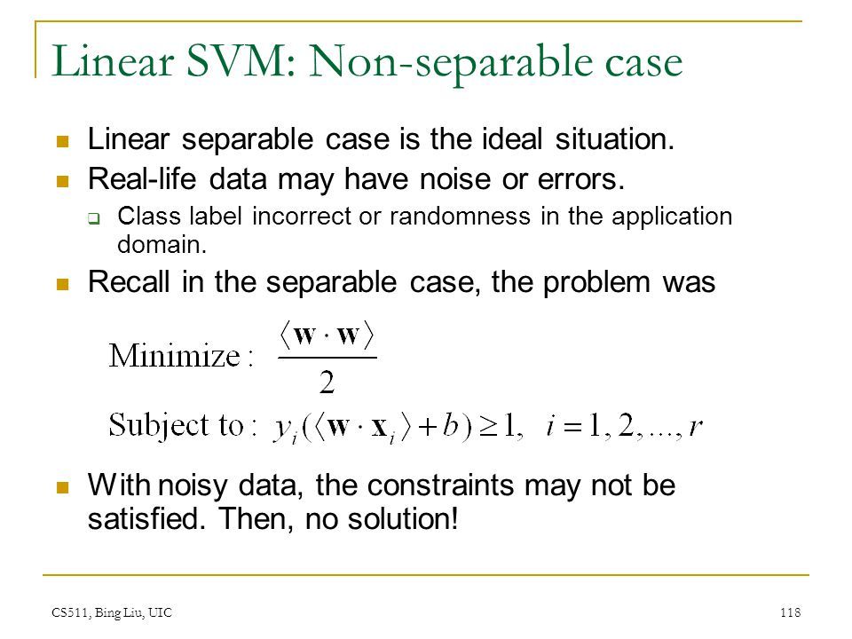Linear SVM: Non-separable case