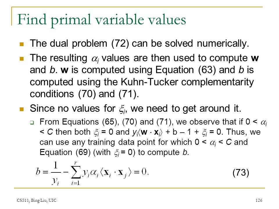Find primal variable values