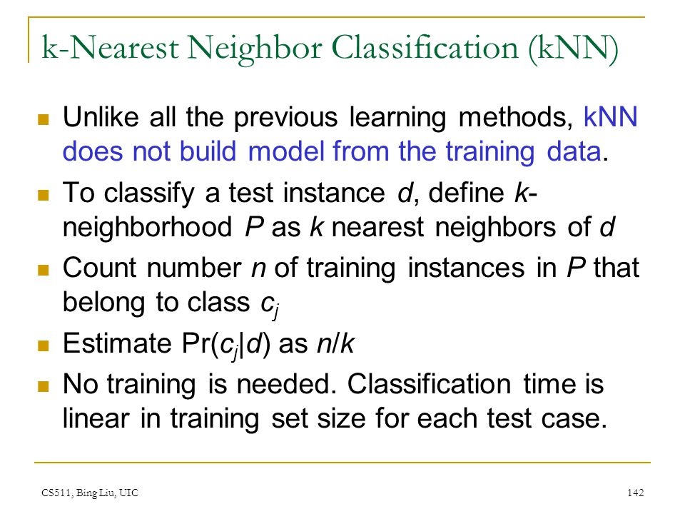 k-Nearest Neighbor Classification (kNN)