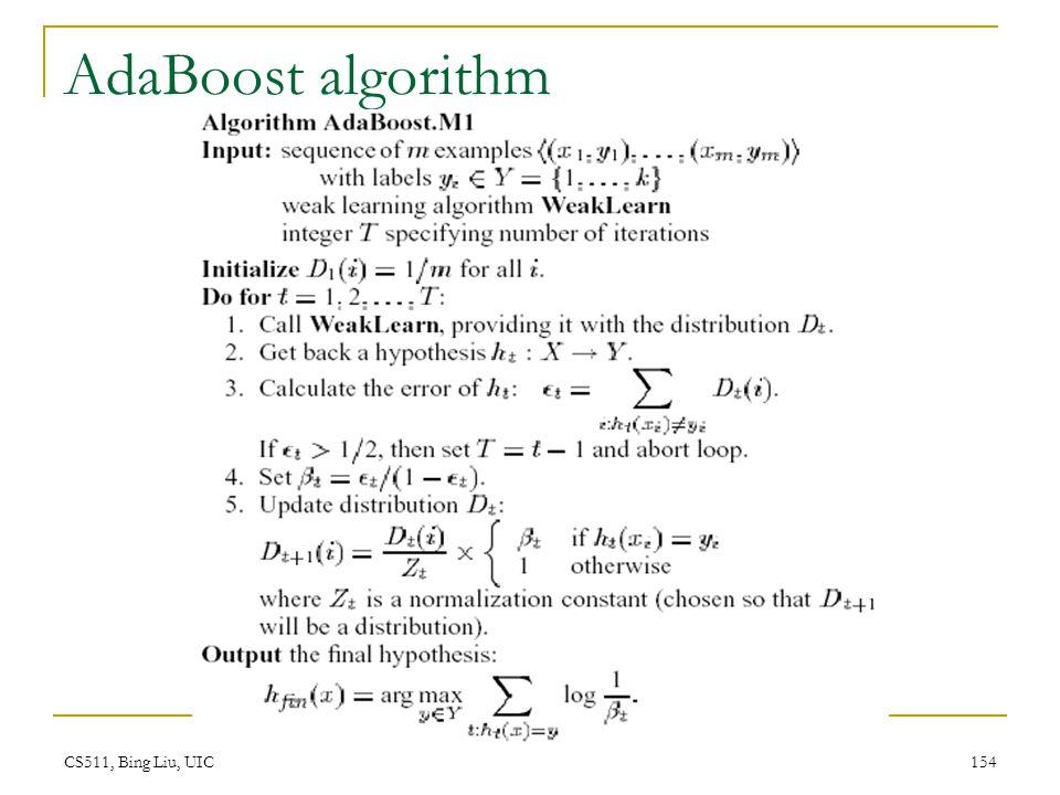 AdaBoost algorithm CS511, Bing Liu, UIC