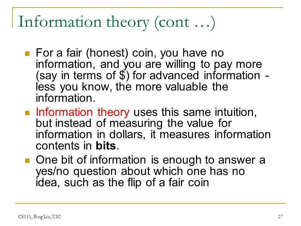Information theory (cont …)