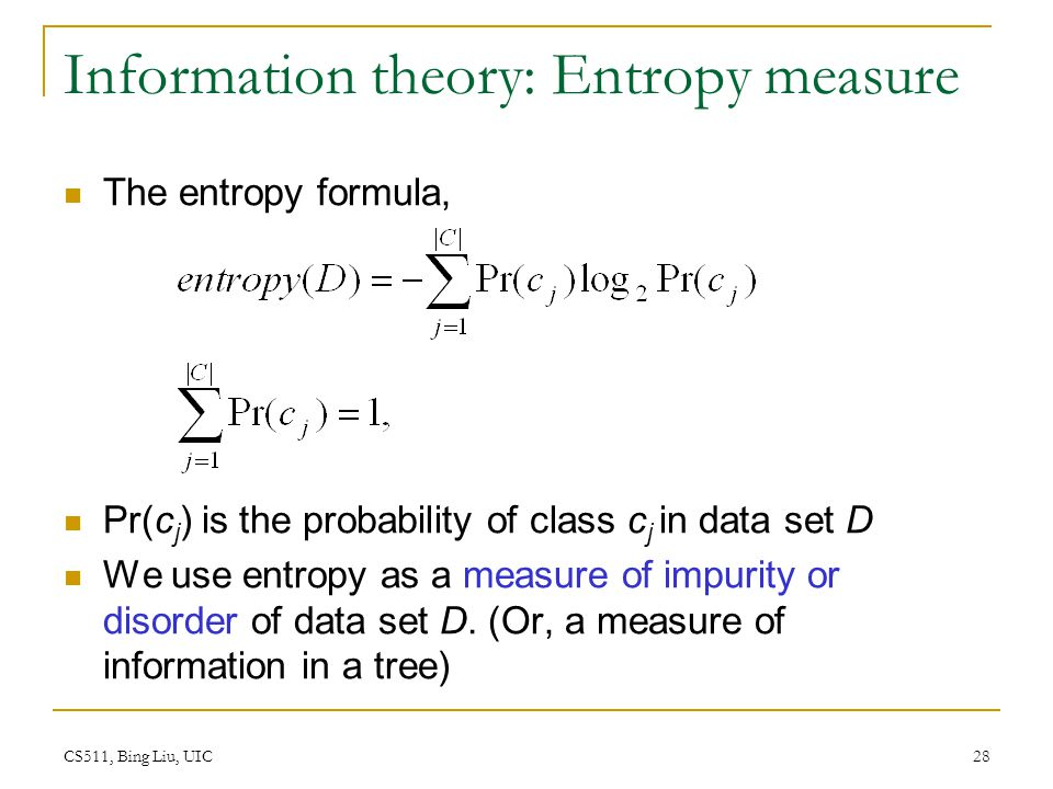 Information theory: Entropy measure