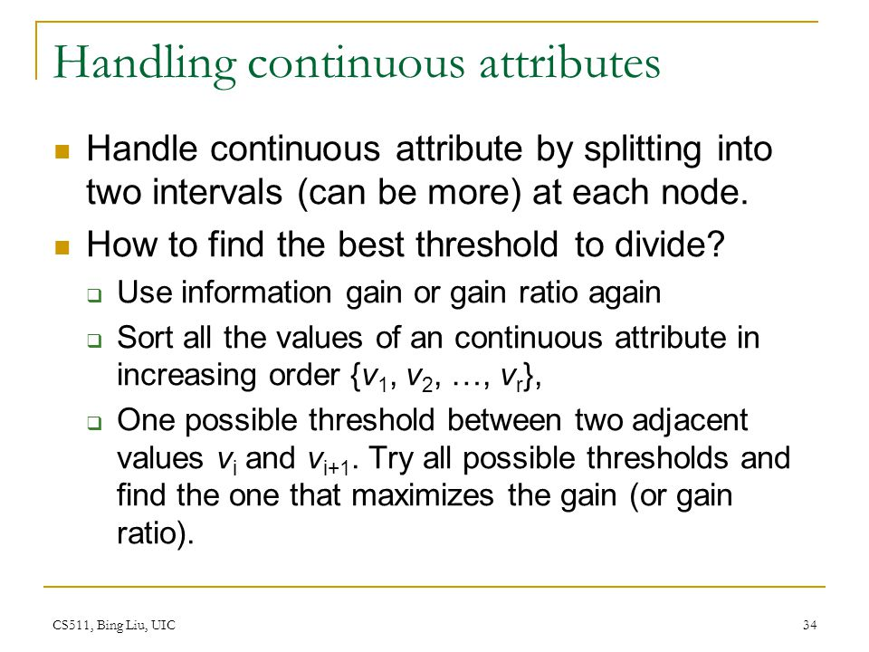 Handling continuous attributes