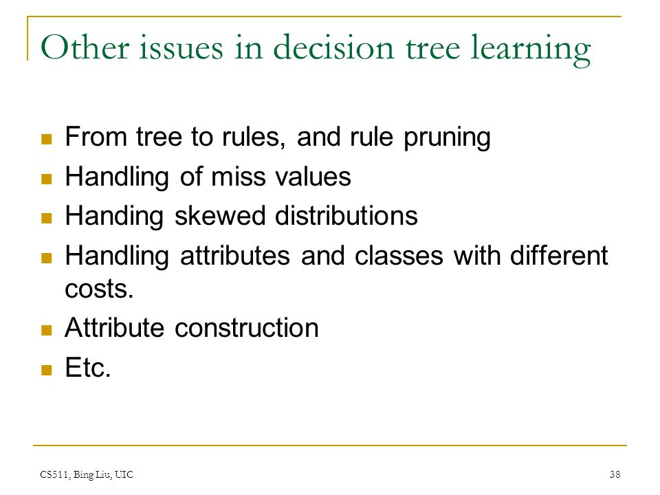 Other issues in decision tree learning