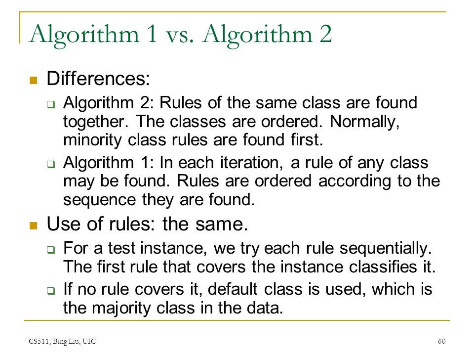 Algorithm 1 vs. Algorithm 2