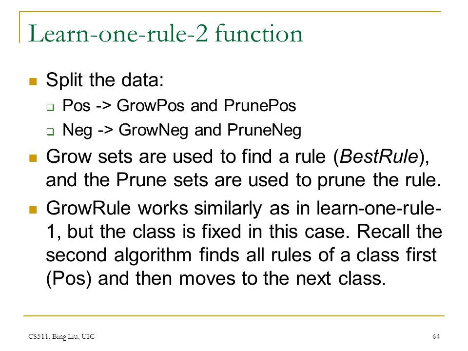 Learn-one-rule-2 function