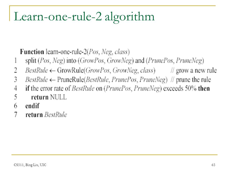 Learn-one-rule-2 algorithm