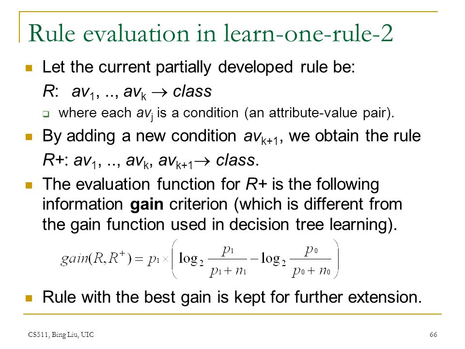Rule evaluation in learn-one-rule-2