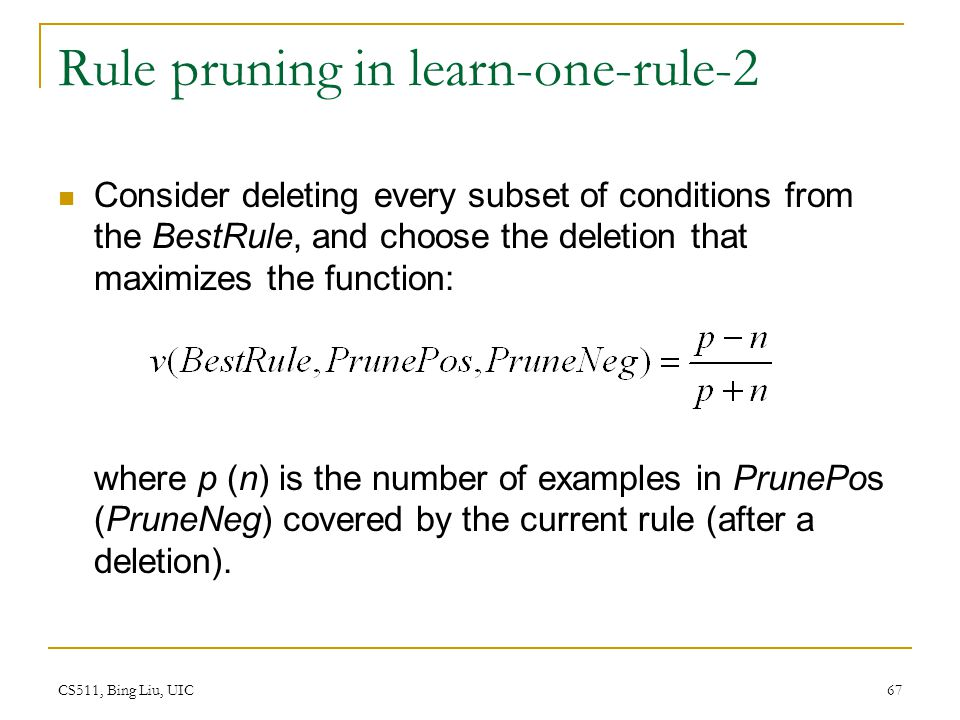 Rule pruning in learn-one-rule-2