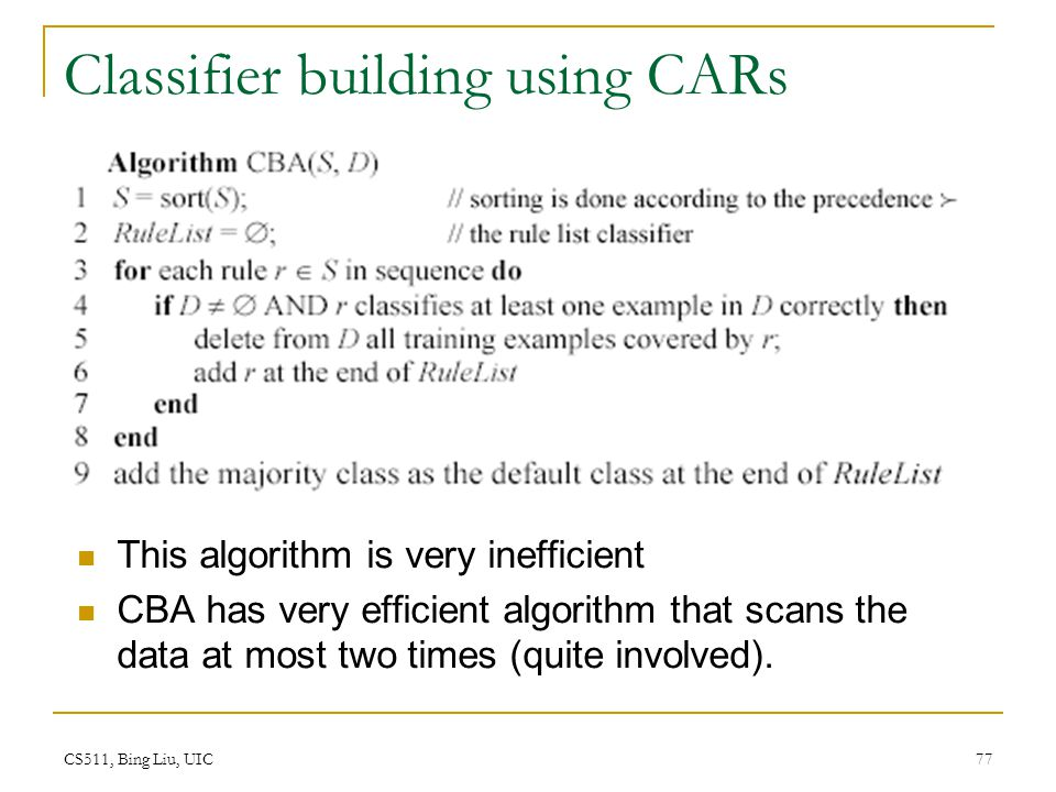 Classifier building using CARs