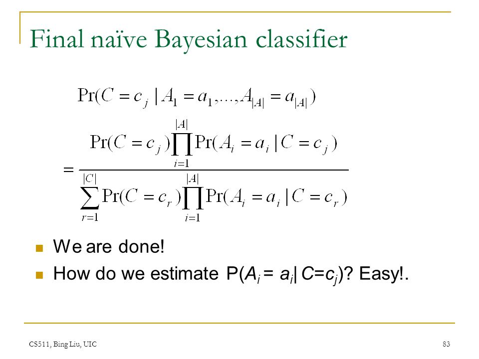 Final naïve Bayesian classifier