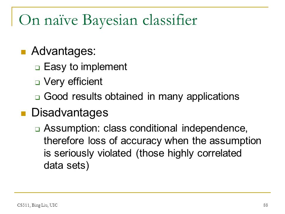 On naïve Bayesian classifier