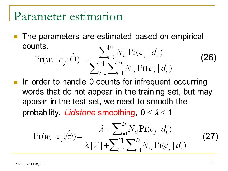 Parameter estimation (26) (27)