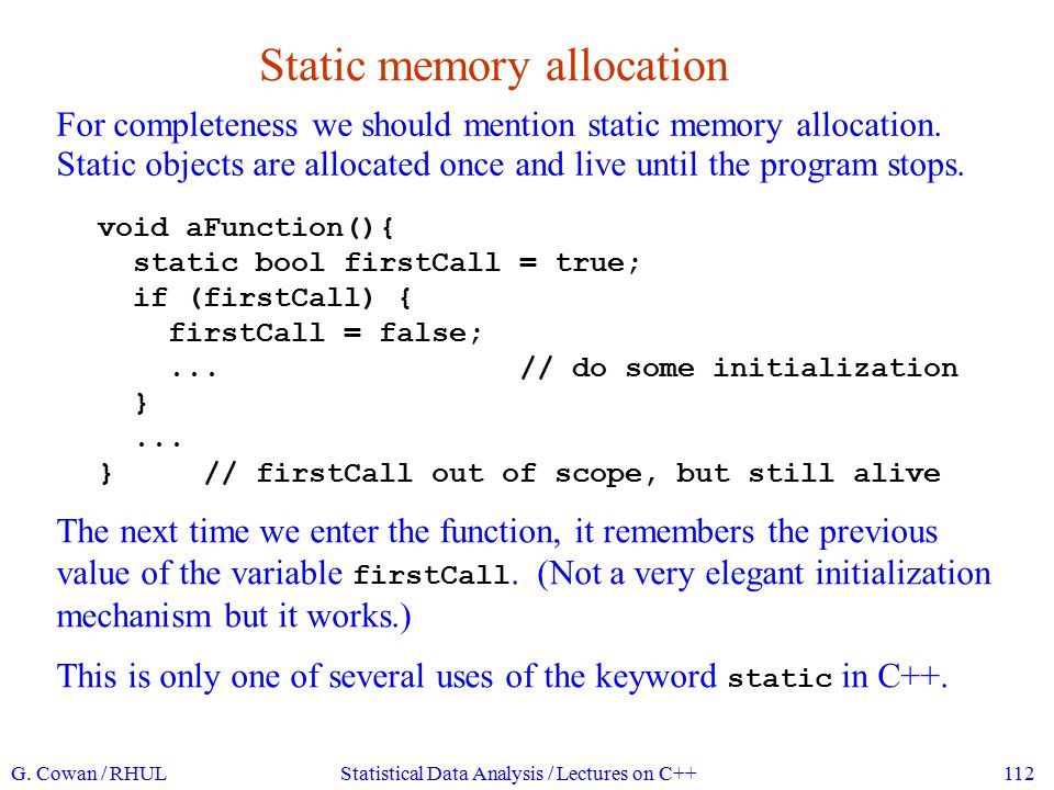 Static memory allocation
