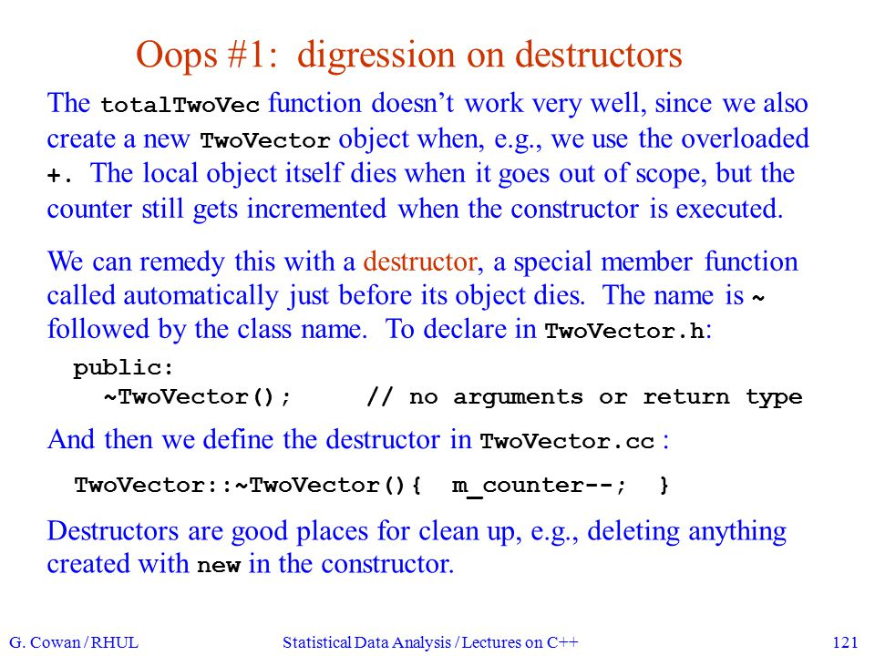 Oops #1: digression on destructors