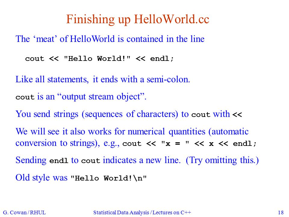 Finishing up HelloWorld.cc