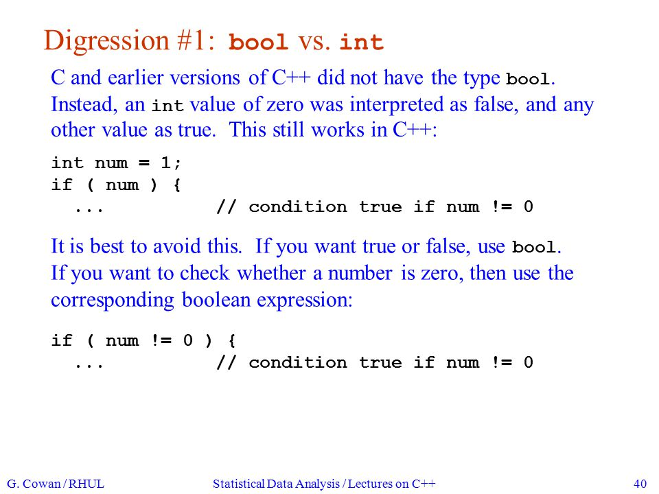 Digression #1: bool vs. int