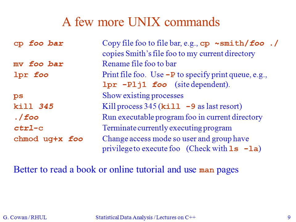 A few more UNIX commands