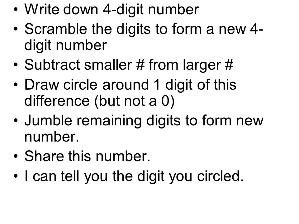 Write down 4-digit number