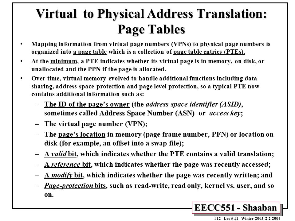 Virtual to Physical Address Translation: Page Tables