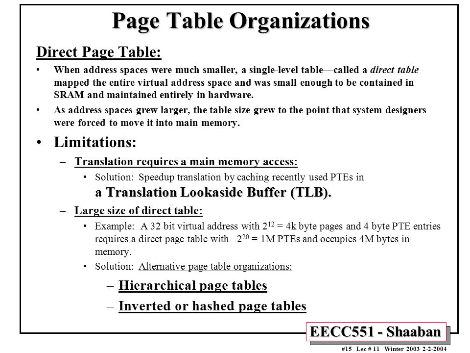 Page Table Organizations