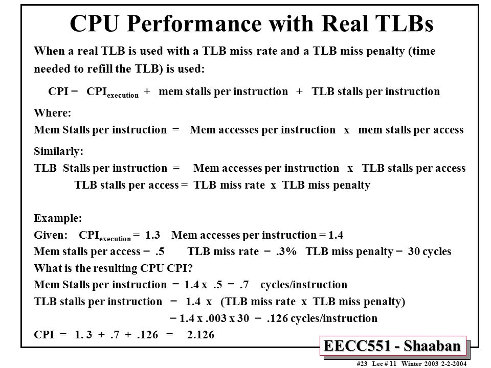 CPU Performance with Real TLBs