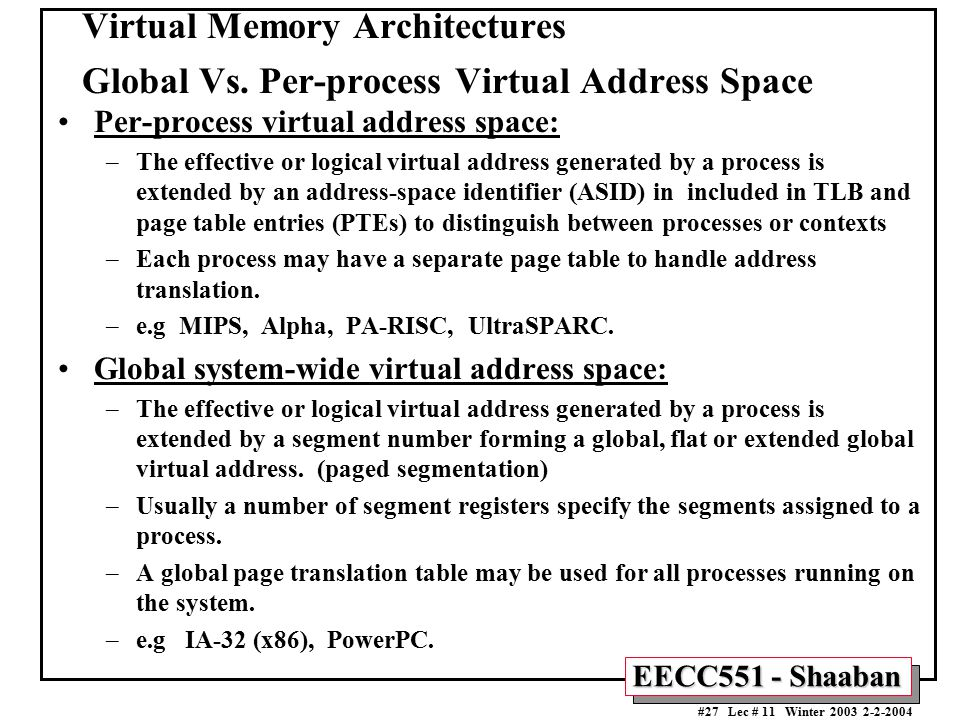 Virtual Memory Architectures Global Vs