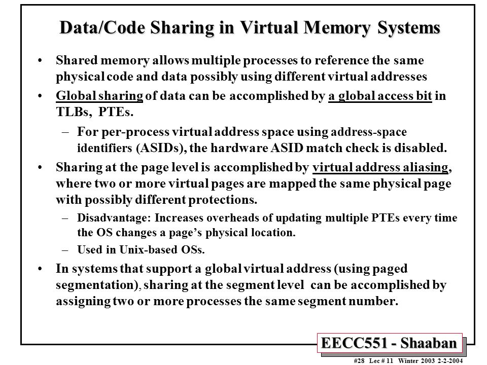 Data/Code Sharing in Virtual Memory Systems