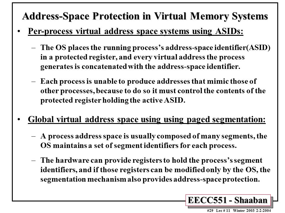Address-Space Protection in Virtual Memory Systems