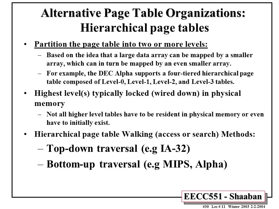 Alternative Page Table Organizations: Hierarchical page tables