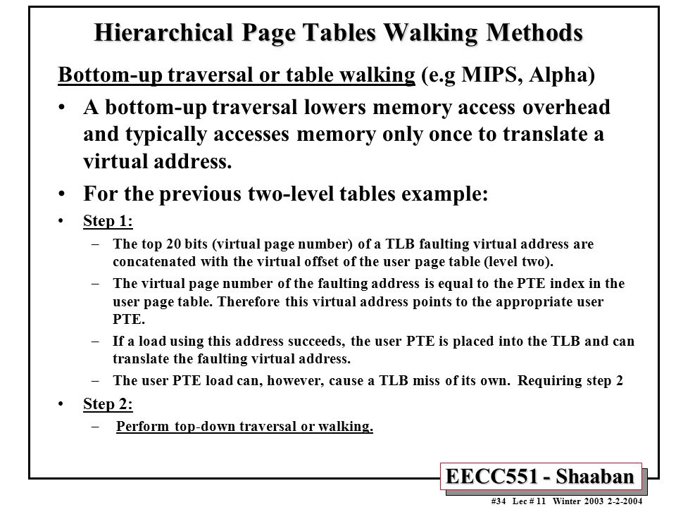 Hierarchical Page Tables Walking Methods