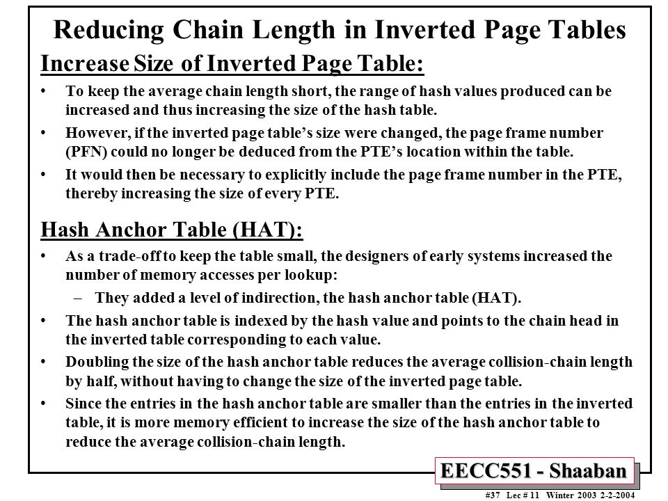 Reducing Chain Length in Inverted Page Tables