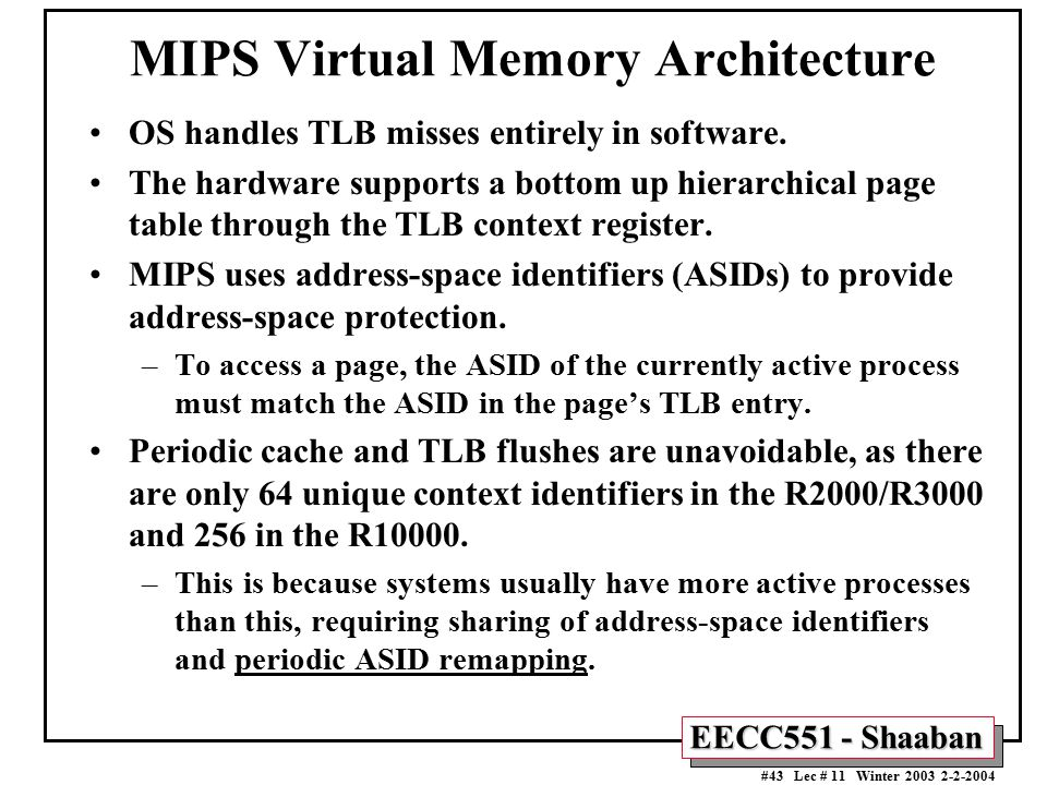 MIPS Virtual Memory Architecture