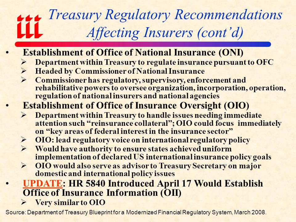 Treasury Regulatory Recommendations Affecting Insurers (cont'd)