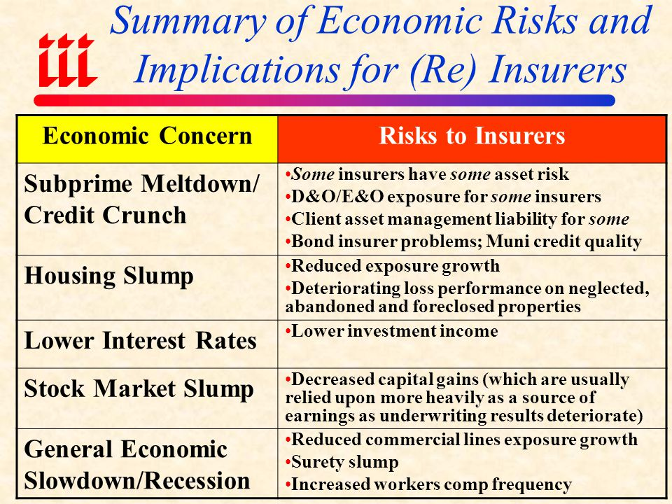 Summary of Economic Risks and Implications for (Re) Insurers