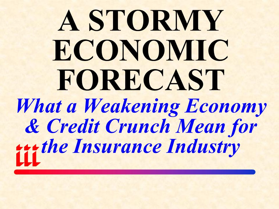 A STORMY ECONOMIC FORECAST What a Weakening Economy & Credit Crunch Mean for the Insurance Industry