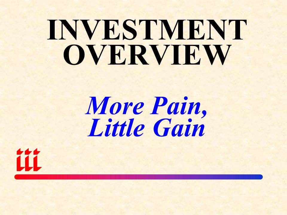 INVESTMENT OVERVIEW More Pain, Little Gain