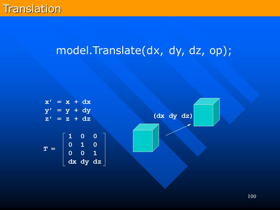 model.Translate(dx, dy, dz, op);