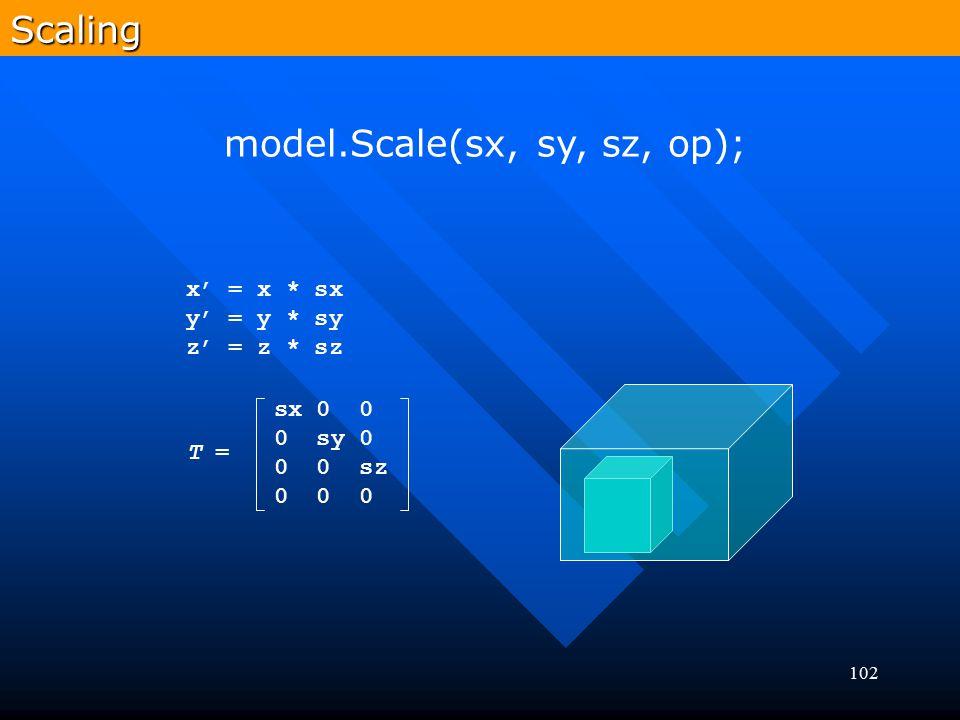 model.Scale(sx, sy, sz, op);