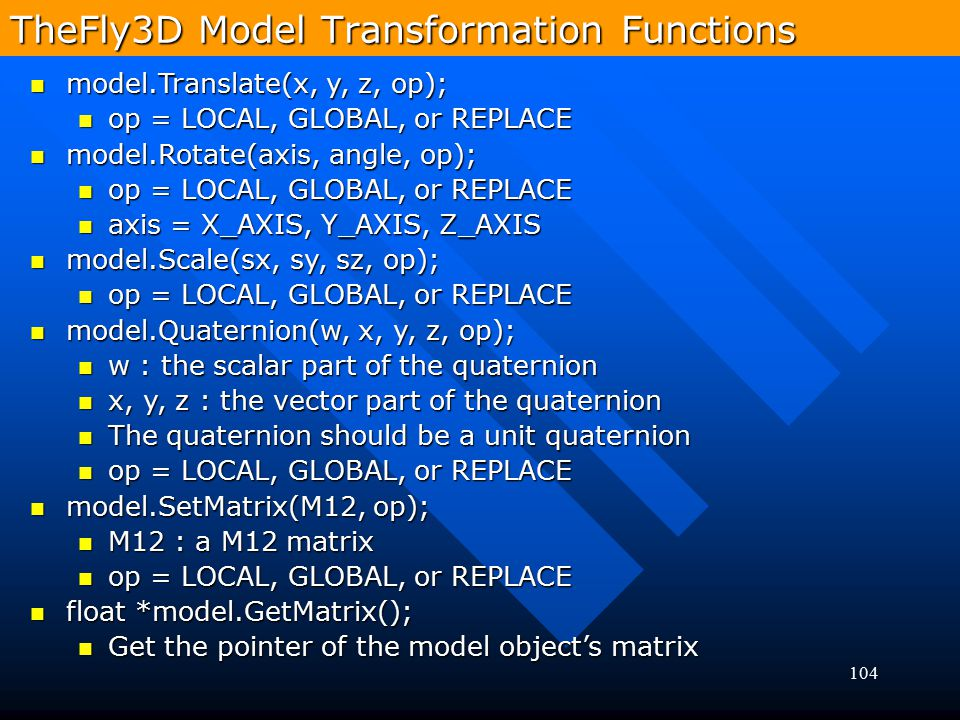 TheFly3D Model Transformation Functions