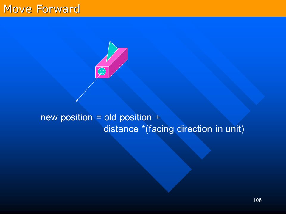 Move Forward new position = old position +