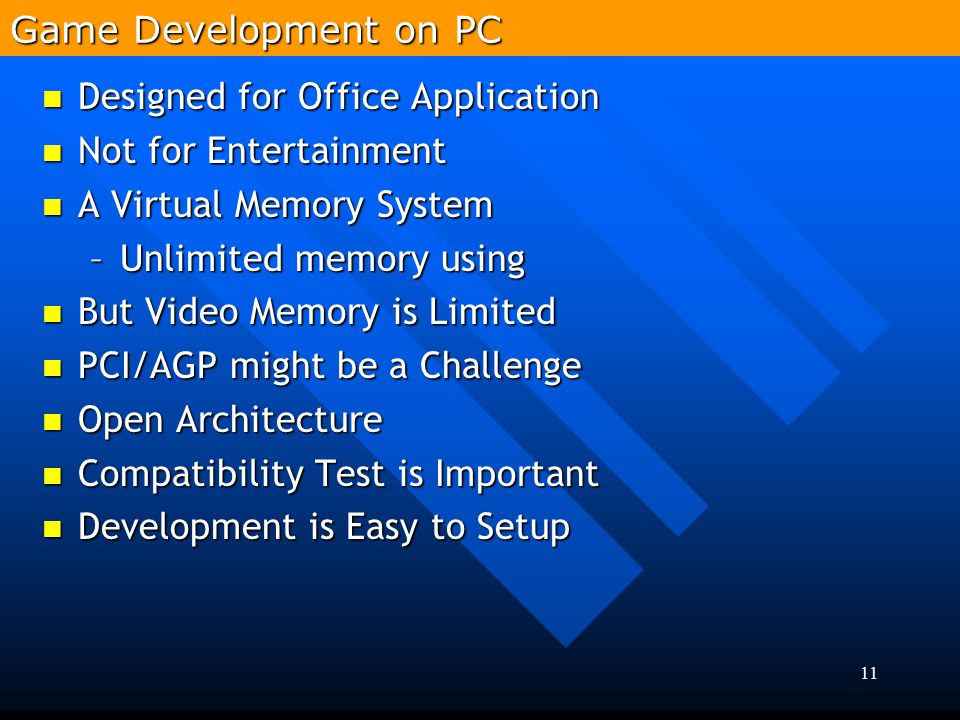 Game Development on PC Designed for Office Application. Not for Entertainment. A Virtual Memory System.