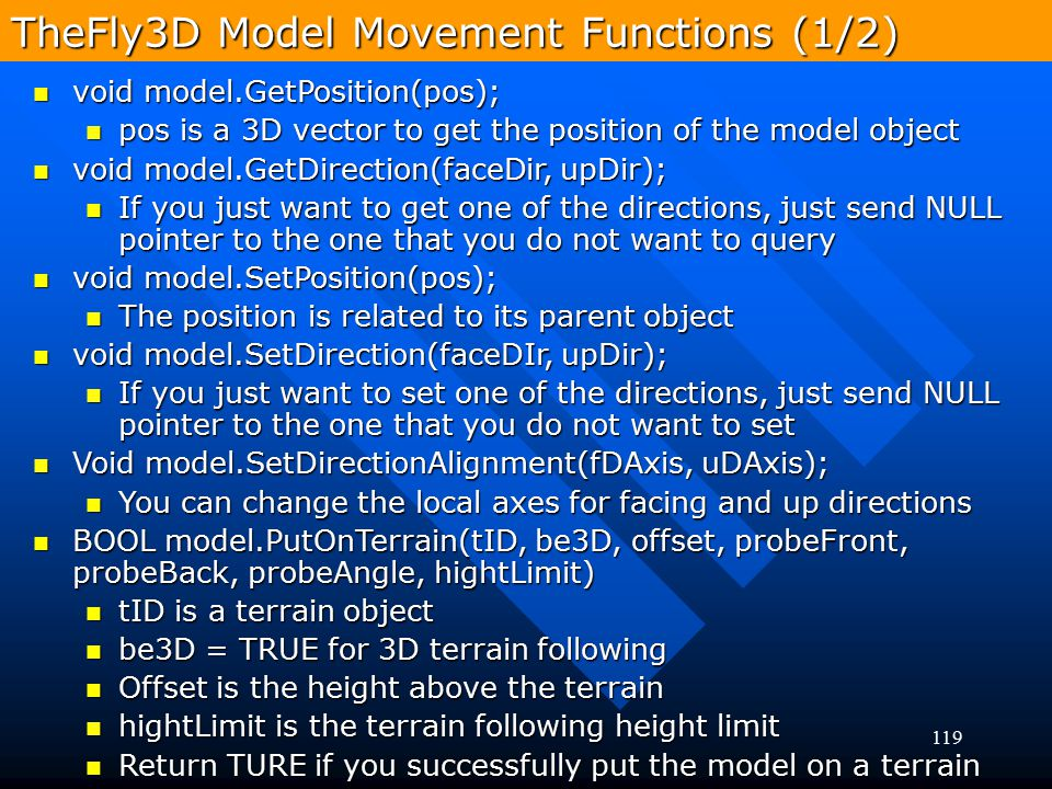 TheFly3D Model Movement Functions (1/2)