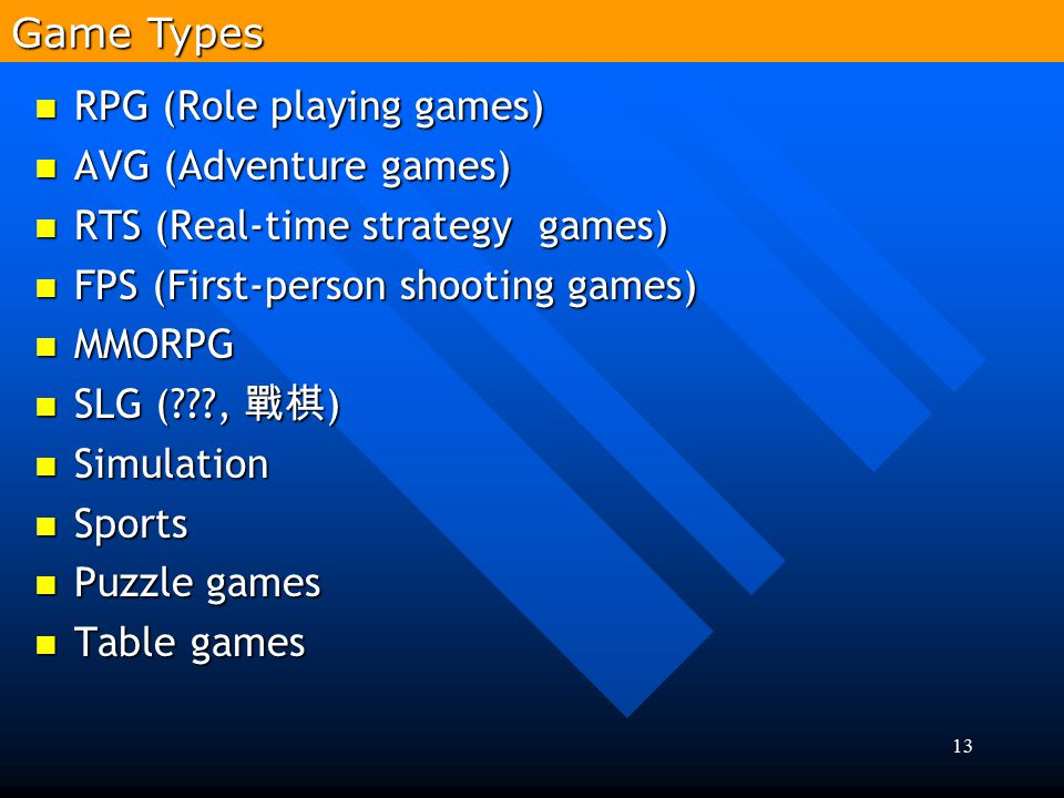 Game Types RPG (Role playing games) AVG (Adventure games) RTS (Real-time strategy games) FPS (First-person shooting games)