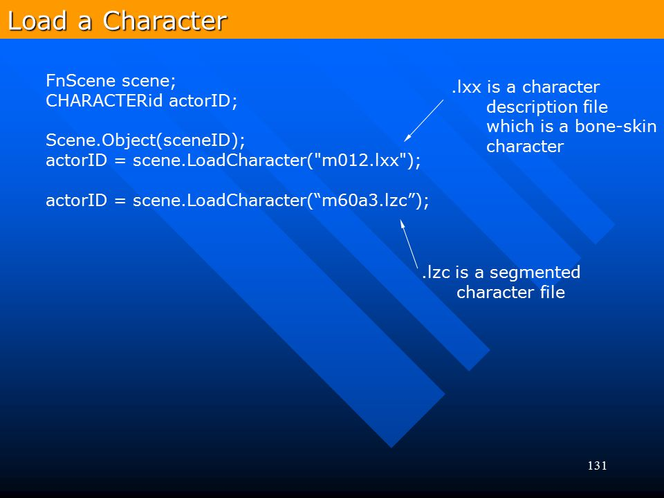 Load a Character FnScene scene; .lxx is a character