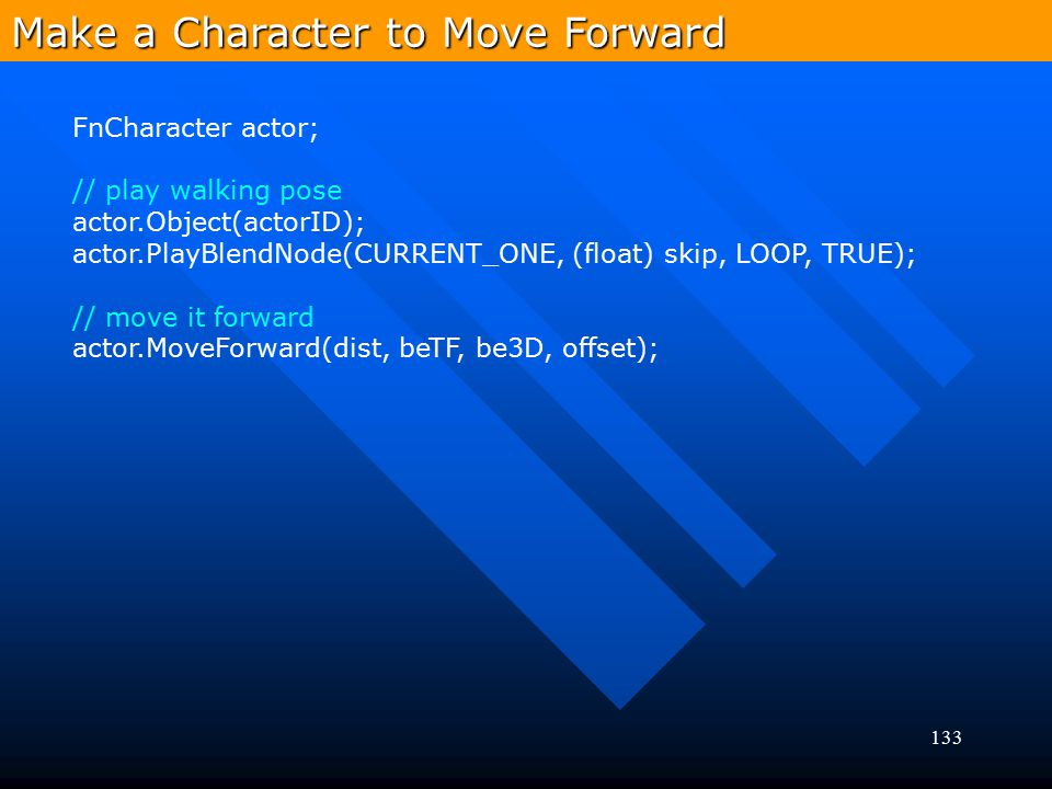 Make a Character to Move Forward
