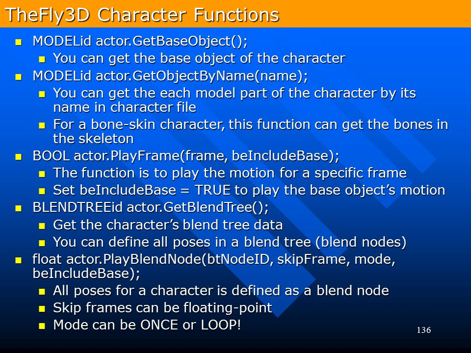 TheFly3D Character Functions